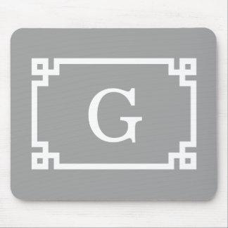 Dark Gray Wht Greek Key Frame #2 Initial Monogram Mouse Pad