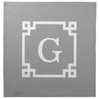 Dark Gray Wht Greek Key Frame #2 Initial Monogram Napkin