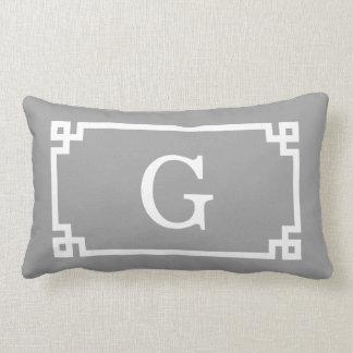 Dark Gray Wht Greek Key Frame #2 Initial Monogram Throw Pillow