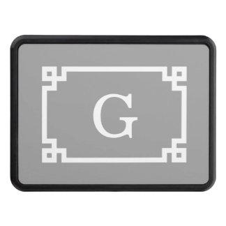 Dark Gray Wht Greek Key Frame #2 Initial Monogram Trailer Hitch Cover