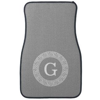 Dark Gray Wht Greek Key Rnd Frame Initial Monogram Car Floor Mat