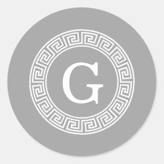 Dark Gray Wht Greek Key Rnd Frame Initial Monogram Classic Round Sticker