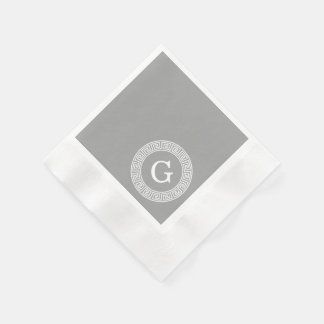 Dark Gray Wht Greek Key Rnd Frame Initial Monogram Paper Napkin