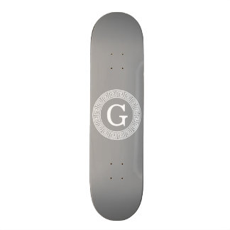 Dark Gray Wht Greek Key Rnd Frame Initial Monogram Skateboard Deck