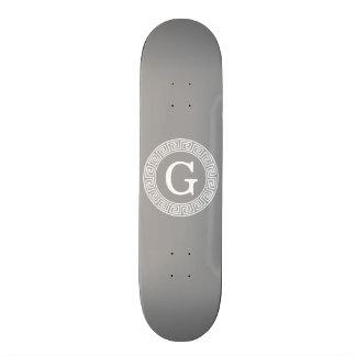 Dark Gray Wht Greek Key Rnd Frame Initial Monogram Skateboard Deck