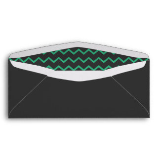 Dark Gray with Green Chevron Interior Envelope