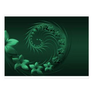 Dark Green Abstract Flowers Postcard