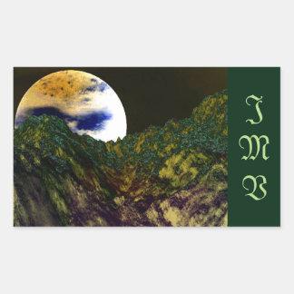 Dark Green Alien World Stickers