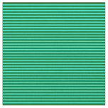 [ Thumbnail: Dark Green and Aqua Lines/Stripes Pattern Fabric ]