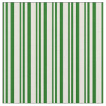 [ Thumbnail: Dark Green and Beige Colored Lines Fabric ]