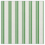 [ Thumbnail: Dark Green and Beige Colored Stripes Fabric ]
