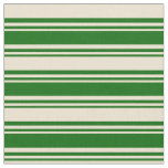 [ Thumbnail: Dark Green and Beige Lines Pattern Fabric ]