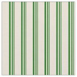 [ Thumbnail: Dark Green and Bisque Colored Stripes Pattern Fabric ]