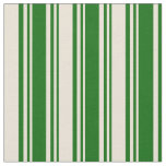 [ Thumbnail: Dark Green and Bisque Stripes Pattern Fabric ]