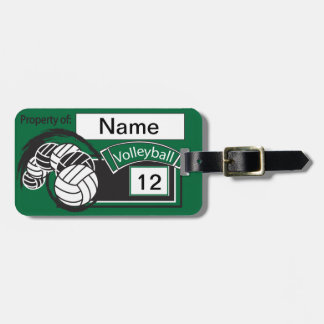 Dark Green and Black Sporty Volleyball Luggage Tag