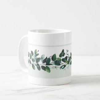 Dark Green and Blue Eucalyptus Leaves Garden Mug