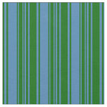 [ Thumbnail: Dark Green and Blue Striped Pattern Fabric ]