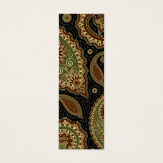 Dark green and burgundy paisley.png mini business card