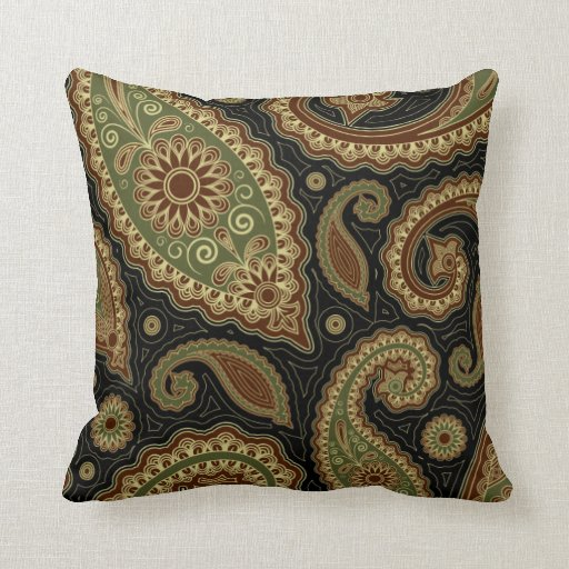 Burgundy Green Throw Pillows : Dark green and burgundy paisley.png throw pillow Zazzle