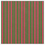 [ Thumbnail: Dark Green and Crimson Colored Stripes Fabric ]