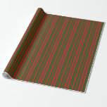[ Thumbnail: Dark Green and Crimson Colored Stripes Wrapping Paper ]