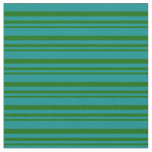 [ Thumbnail: Dark Green and Dark Cyan Pattern of Stripes Fabric ]