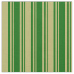 [ Thumbnail: Dark Green and Dark Khaki Stripes/Lines Pattern Fabric ]