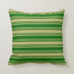 [ Thumbnail: Dark Green and Dark Khaki Stripes/Lines Pattern Throw Pillow ]