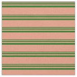 [ Thumbnail: Dark Green and Dark Salmon Colored Lines Fabric ]