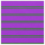 [ Thumbnail: Dark Green and Dark Violet Colored Lined Pattern Fabric ]