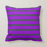 [ Thumbnail: Dark Green and Dark Violet Colored Lined Pattern Throw Pillow ]