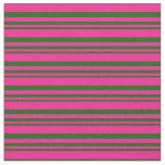 [ Thumbnail: Dark Green and Deep Pink Striped Pattern Fabric ]