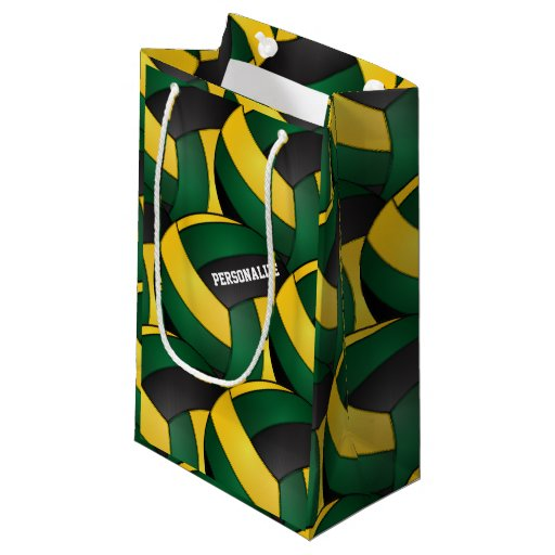 Dark Green and Gold Volleyballs Small Gift Bag