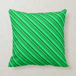 [ Thumbnail: Dark Green and Green Colored Lines Throw Pillow ]