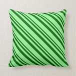[ Thumbnail: Dark Green and Green Stripes Pattern Throw Pillow ]