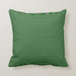 [ Thumbnail: Dark Green and Grey Lines/Stripes Pattern Pillow ]