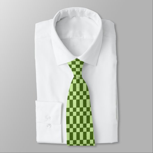 Dark green and light green checkers neck tie