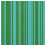 [ Thumbnail: Dark Green and Light Sea Green Colored Pattern Fabric ]