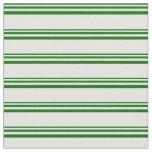 [ Thumbnail: Dark Green and Light Yellow Pattern of Stripes Fabric ]