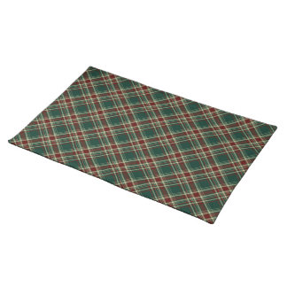 Dark Green and Maroon Christmas Plaid Cloth Placemat