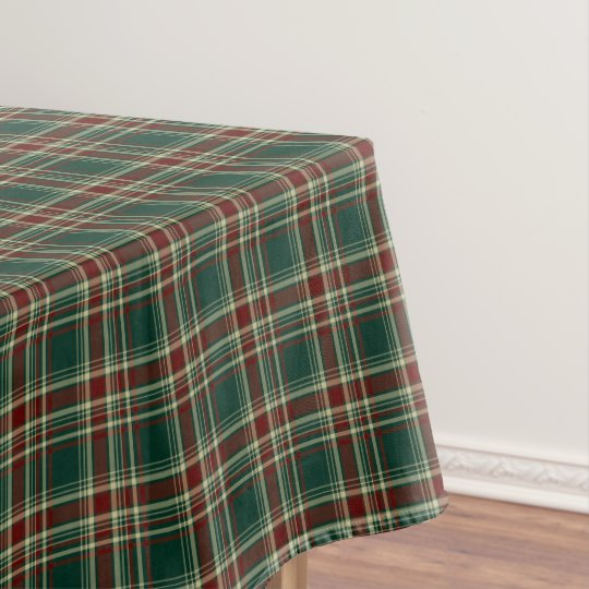 Superb Dark Green And Maroon Christmas Plaid Tablecloth