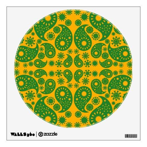 Dark Green and Orange - Yellow Paisley. Room Graphic