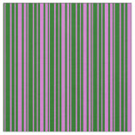 [ Thumbnail: Dark Green and Orchid Striped Pattern Fabric ]