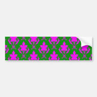 Dark Green And Pink Ornate Wallpaper Pattern Bumper Sticker