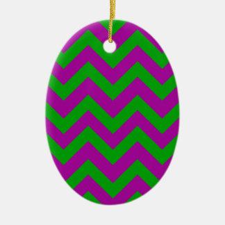 Dark Green And Purple Chevrons Ceramic Ornament