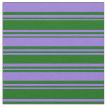 [ Thumbnail: Dark Green and Purple Colored Lined Pattern Fabric ]