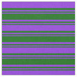 [ Thumbnail: Dark Green and Purple Colored Stripes Fabric ]