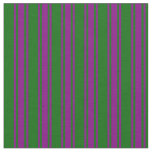 [ Thumbnail: Dark Green and Purple Striped Pattern Fabric ]