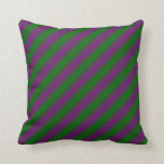 [ Thumbnail: Dark Green and Purple Striped Pattern Throw Pillow ]