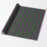 [ Thumbnail: Dark Green and Purple Striped Pattern Wrapping Paper ]